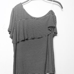 A New Day Pinstripe Off-Shoulder Top